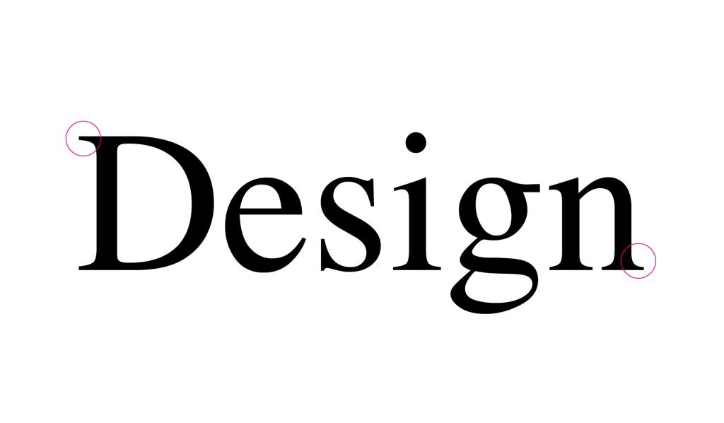 A palavra Design escrita com a tipografia Times New Roman
