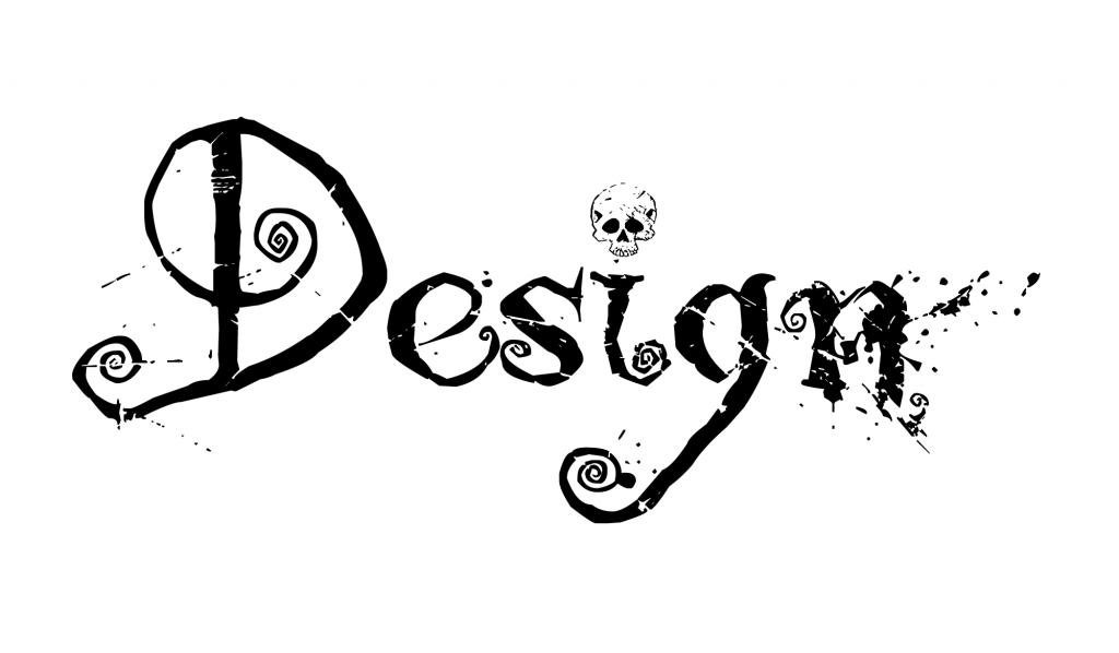 A palavra Design escrita com a tipografia decorativa