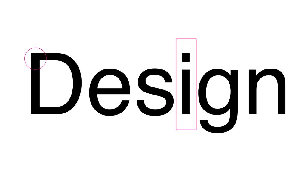 A palavra Design escrita com a tipografia Helvetica