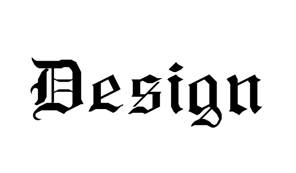 A palavra Design escrita com a tipografia RM