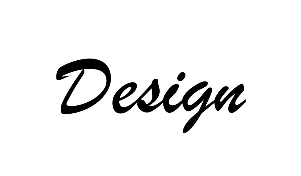 A palavra Design escrita com a tipografia Script